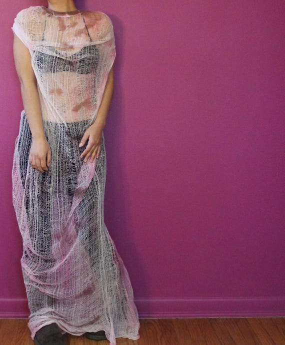 Shredded Tie Dyed Dress  ~ slowshine