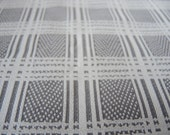 Vintage double knit polyester fabric grey and white  plaid 1 yard 32 inches 65 inches wide