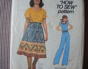 vintage 1970s Simplicity sewing pattern 7862 junior skirt pants and pullover blouse size 11 12