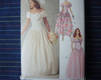 vintage 1990s Butterick sewing pattern 5252 bridal gown and petticoat and bridesmaid dresses size 6-8-10