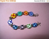 SALE 60% Off Art glass bead bracelet, beaded bracelet, estate jewelry, hippie, boho