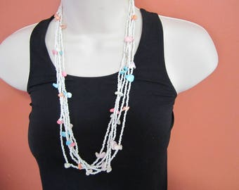 vintage beaded faux shell multi strand necklace, hippie, boho, estate jewelry