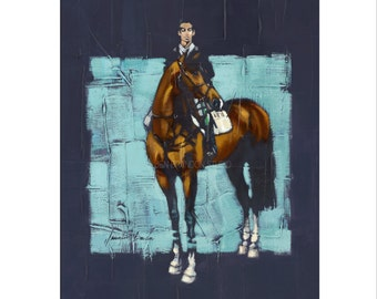 Horse Art - Matted Print of Original Oil Painting - Horses,Equine, Equestrian, Jumper, Riding, Rider, Animal Lovers, Water, Dramatic Art