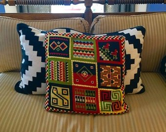 Vintage Mid Century Embroidery Throw Pillow, black geometric pattern, retro design, amazing finish