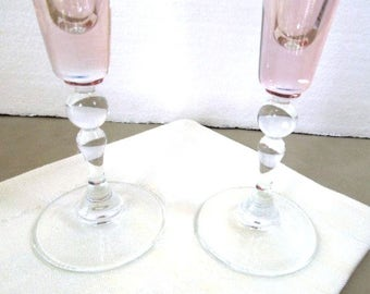 Pink Champagne Glasses, Set of 2, Wedding Stemware, Bride and Groom Champagnes, Toasting Stemware, Vintage Barware