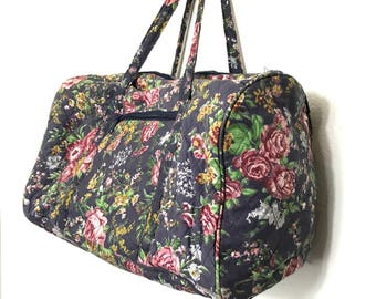 Vintage Duffle Bag Floral Boho Bag Overnight Bag Pretty Travel Suitcase 80's 90's Duffle Bag Blue with Roses H1