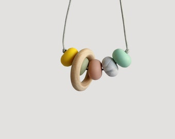 Pick Your Own Colours, Feeding and teething chewlery necklace, bpafree silicone bead teething necklace with optional ring by Mustard & Mint