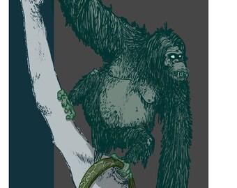 Swamp Ape - Cryptid Series- Print of my original illustration