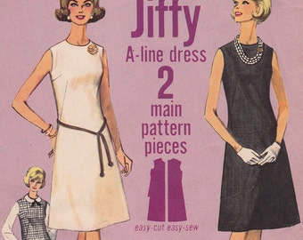 """1960s Simplicity 5508 Size 16 Jiffy Misses' Shift Dress Diagonal Darts Vintage Sewing Pattern - Bust 36"""", Complete Cut"""