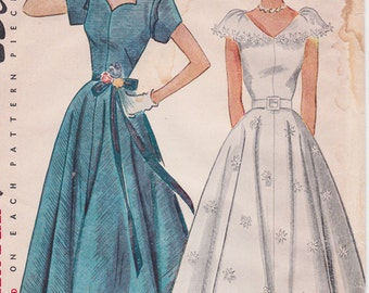 1950s Misses Formal Dress, Ballerina or Evening Gown, Prom Dress Vintage Sewing Pattern [Simplicity 3410] Size 14, Bust 32, Partly Cut