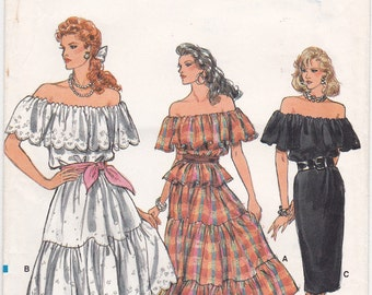 "FF 80s Off the Shoulder Ruffled Top & Tiered Skirt or Straight, Peasant Dress Sew Pattern, [Vogue 9940] Size 8 10 12, Bust 31.5-34"", UNCUT"