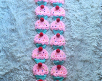 Cupcake Scarf READY TO SHIP crochet scarf with sprinkles and 3D cherry Pink frosting mint cake