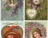 ON SALE Lot of 4 Antique Victorian Embossed American Beauty Valentine Postcards with Hearts and Flowers 1908