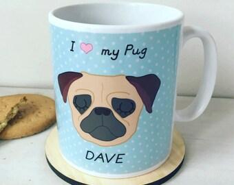 Pug Mug Personalised - Pug Gift - Pug Cup