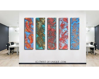 Red Rust abstract painting /CUSTOM abstract painting/ Rust/ 12x48 / Twist Of unique /Red rust, gold, copper, blue, green