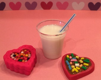 polymer clay milk and cookies,resin drinks, 18 inch dolls