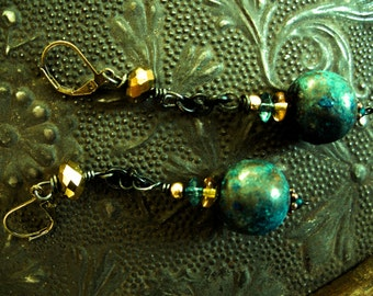 Rustic Earrings, Brass Patina Jewelry, Dangle style, Blue, gold, Exotic, One of a Kind, Boho, Rustic elegance, Free Shipping