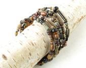 Stacked beaded bracelets - Boho multicolored stone glass & wood beads
