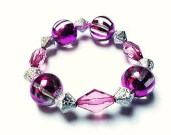 Purple and Silver Beaded Bracelet