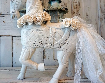 White wood horse statue carved French Nordic distressed figure embellished white roses crown tattered lace tail decor anita spero design