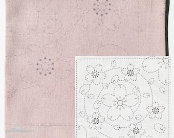 Olympus Sashiko Kit | Japanese Embroidery Kit with Pre-printed Sashiko Fabric Pattern - Sakura Cherry Blossom on Pink (No 37)
