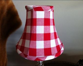 Small Bell lampshade red Buffalo check lampshade clip shade