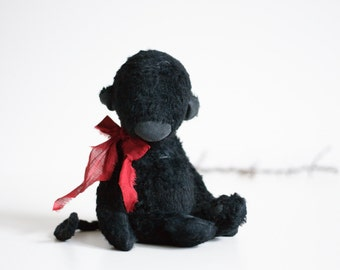 Made To Order Black Mohair Monkey Red Bowl 7 Inches Stuffed Animal Handmade Toy Plush Toy Soft Toys Artist Teddy Bear Personalized Gift