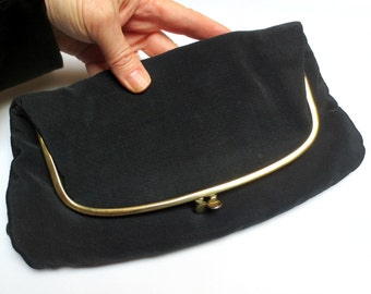 FAB 1950s Ingber Rayon Clutch/Foldover Purse, Satin Lining, Includes Coin Purse, Evening Purse