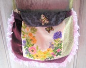 Vintage needlepoint boho purse, purple green gypsy bag, hand made fabric purse, large hippie bohemian crossbody purse