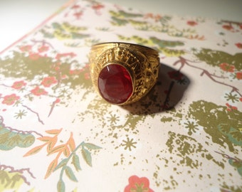 1 U.S. Army Brass Ring with Ruby Red Stone Size 12