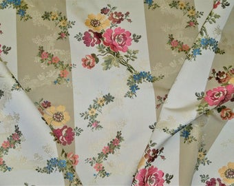 LEE JOFA KRAVET Chinoiserie Pagoda Floral Stripes Brocade Fabric 10.5 Yards Beige Cream Shabby Rose Blue Multi