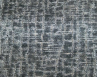 SCALAMANDRE STARK ALLIGATOR / Crocodile Animal Skins Cut Velvet Fabric 10 Yards Steel Blue