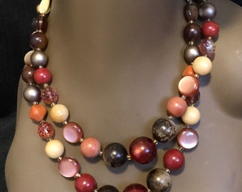 Vintage Jewelry Beaded Necklace Two Strands Different Colors FREE SHIPPING