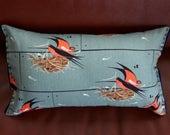 Organic Lumbar Pillow in birds || Felt detailing hand stitched || canvas fabric || hypoallergenic