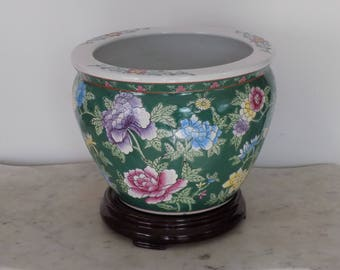 Mid Century Large Chinese Porcelain Koi Fish Bowl Planter - Chinoiserie Floor Jardiniere Oriental Asian Display Pottery Floral Goldfish