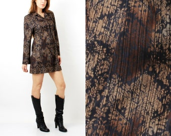 Vintage Brown Dress / Cara Sarta / Brown Tunic / Tunic Dress / Long Sleeve Dress / Button Up Dress / Dress Size 40 / Large Dress