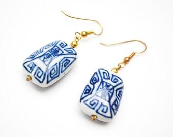 Chinese Porcelain Earrings -  Dangle rectangle - Blue White - gold hooks