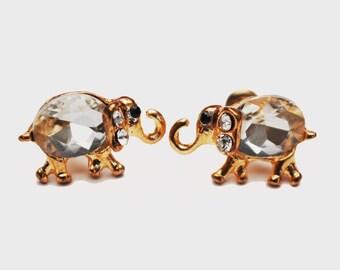 Elephant Stud Earrings - Clear crystal Rhinestone -  Gold figurine pierced earrings