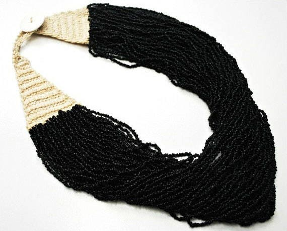 Black  Torsade  Necklace -  Multi Strand of Black Glass Beads -  India Naga tribe - Vintage bead Necklace