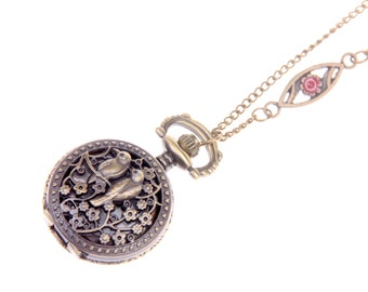 Necklace Pocket watch birds in love