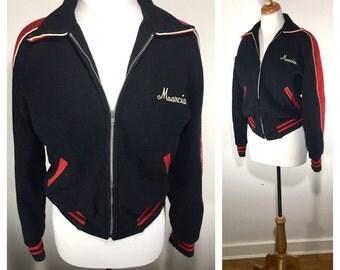 Vintage 1980s Varsity Jacket Black Wool Sports Coat Football Letter Jacket Bomber Jacket Men's Vintage Jacket Women's Bomber Jacket