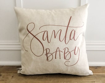 Santa Baby Pillow Cover (Red)