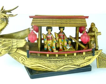 Vintage Asian Dragon Junk Boat With Geisha Girls and Boatman - Resin or Celluoid Boat - 50s