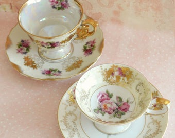 Two Gorgeous Vintage Porcelain Teacups and Saucers Made in Japan / Hand Painted China / Roses