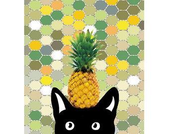 Pineapple Print, Cat Art Print, Rainbow, Colorful Illustration, Black Cat Print, Ananas Print, Summer Home Decor / 8x10inches