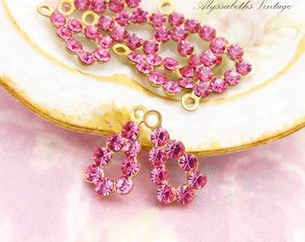 Petite Swarovski Rose Pink Rhinestone Teardrop Earring Dangles Drops Charms Brass Settings 15mm - 4