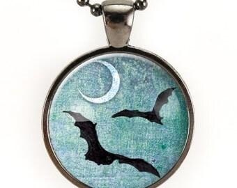 Black Bat Necklace, Halloween Bat With Full Moon Pendant, Goth Jewelry (0875G25MMBC)