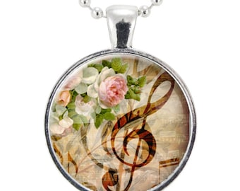 G-Clef Necklace, Music Note Jewelry, Gifts For Music Lovers, Gift Idea For Music Teacher (1056S25MMBC)