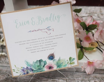 Boho Wedding Invite - Bohemian Floral Wedding Invitations - Best Rustic Wedding Invitations - Kraft wedding Invitations - Floral Invitations
