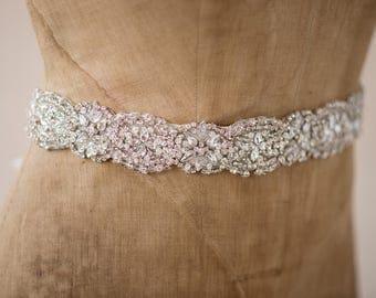 Wedding Belt Bridal Sash, Beaded Art Deco Rhinestone Crystal Ornate Silver Applique Accessories, Vintage Trim, Camilla Christine AMY